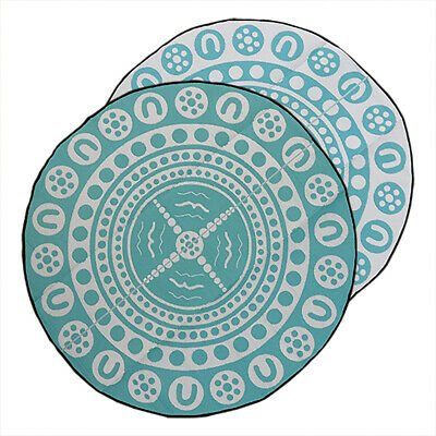 Plastic Mat | Outdoor Rug | ABORIGINAL Design, 3m Round Teal & White