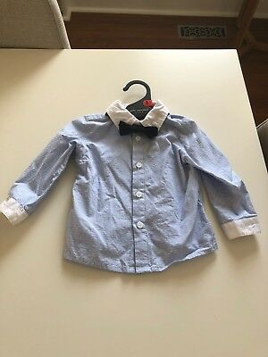 peter morrissey baby boy shirt w bow tie, size 1, worn once, perfect condition!