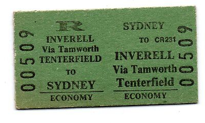NSW Railway Ticket-Inverell to Sydney -cancelled