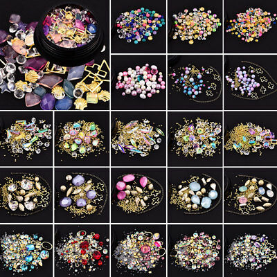 DIY 3D Nail Art Tip Mixed Bead Rhinestones Glitters Diamonds Gold Ball Gems Gift