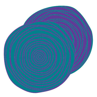 RECYCLED Plastic Outdoor Rug   ABORIGINAL Mat 2.7m round in Teal & Mauve