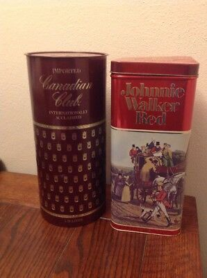 CANADIAN CLUB WHISKEY And JOHNNIE WALKER RED ADVERTISING TINS