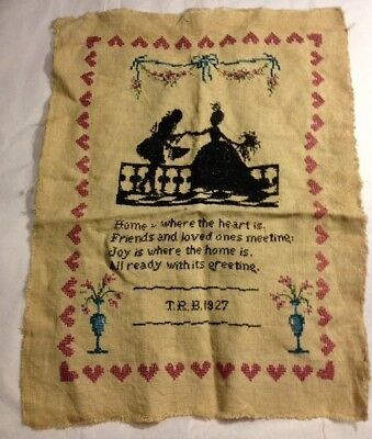 Vintage 1927 Cross Stitch Art Home Is Where The Heart Is
