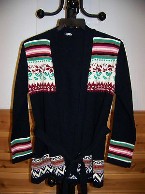 WOMENS VINTAGE AZTEC STYLE BLACK LONG SLEEVE SWEATER by MISS K (SIZE SMALL)