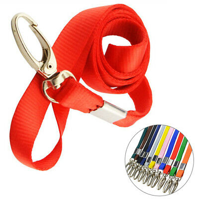 10x Nylon Lanyard Neck Strap Multi-Color Keychain For Badge ID Card Holder Clip