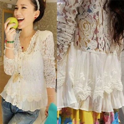 Women Fashion Casual Hollow Out BeadedShoulder Pad Lace Blouse Cardigan Blouse3C