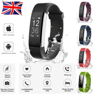 Bluetooth SmartWatch Heart Rate Pedometer Sleep Monitor Fitness Tracker Bracelet