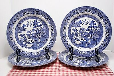 """LOT of Four Churchill BLUE WILLOW 10 3/8"""" Dinner Plates, Made in England, MINT."""