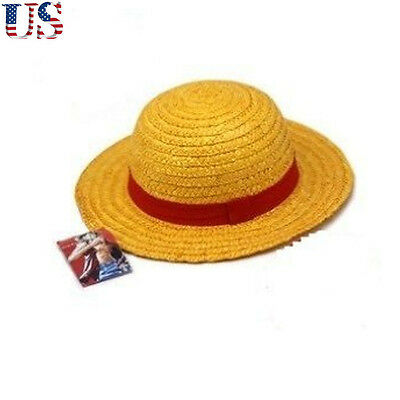 US Anime One Piece Monkey D Luffy Straw Hat Straw Knitting Cosplay Cap Gift Hot