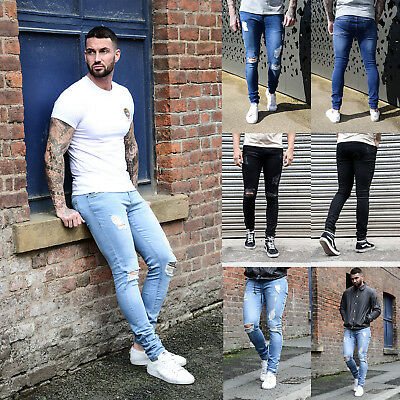 USA Men Blue Ripped Distressed Straight Jeans Distroyed Slim Fit Denim Pants