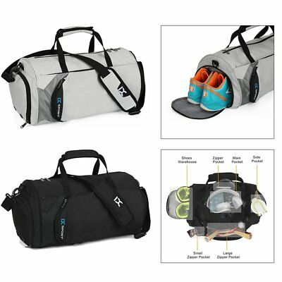 Outdoor Fitness Gym Bag Yoga Excercise Travel Luggage Nylon Zipper Shoes Pockets