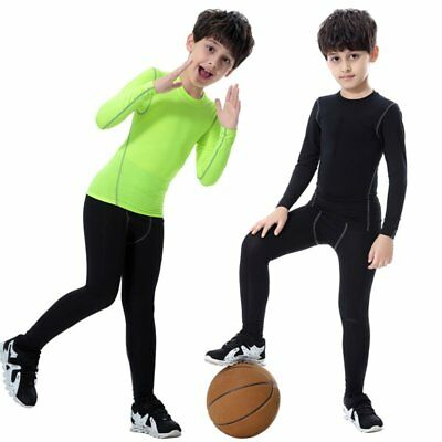 Child Kids Boy Girl Compression Base Layer Skins Tee Thermal Sports T- Shirt AU