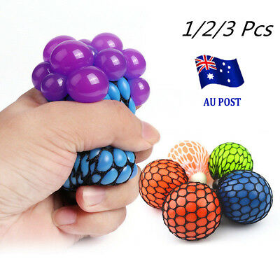 1/2/3 Mesh Squishy Ball Anti Stress Squeeze Grape Ball Stress Relief Ball Toy SN