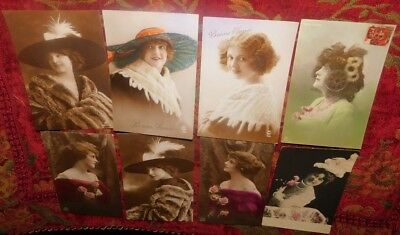 Estate 8 x 1900/10s French Costume Lady Hats Furs Photo Greeting Postcards