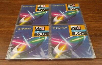 4 x Zip Disk Fujifilm 100mb IBM Formatted New Sealed ZIp 100