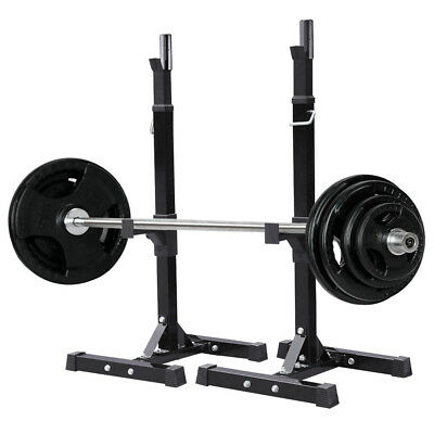 2PCS Adjustable Gym Exercise Squat Bench Set Stand Rack Olympic Weights Standing