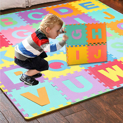 36pcs Kids Baby Learning Alphabet & Number EVA Foam Floor Puzzle Play Mat Rug BW