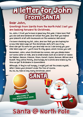 A Personalised letter from Santa to your child