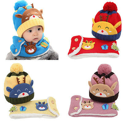 Xmas Kids Baby Boy Girl Elk Warm Knit Beanie Hat Pom Bobble Cap + Snood Scarf