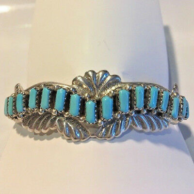 Turquoise sterling silver cuff bangle / bracelet - Native American