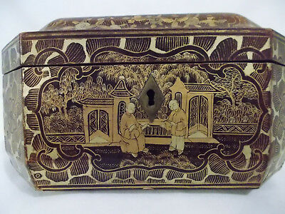 19th-Century ANTIQUE Chinese Tea Gilded Lacquered Wood Caddy Chest/Box
