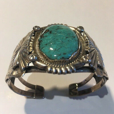 Turquoise Sterling Silver Cuff Bangle Bracelet Native American Hand Made in USA