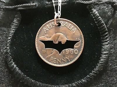 Handcrafted Old Batman Design - Necklace Pendant made from Australian Penny Coin