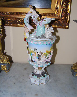 Early Large Dresden  Ewer With Mermaids And Figures In The Capodimonte Style