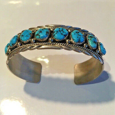Native American hand made silver & turquoise cuff bangle, Navajo