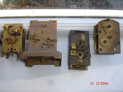 ANTIQUE 1 x FRENCH BRASS 8 DAY CARRIAGE CLOCK + 3 Movments FOR SPARES OR REPAIR