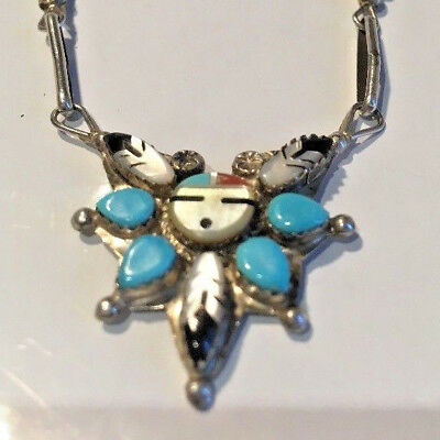 Native American Silver Necklace Turquoise Coral Onyx Handmade in USA