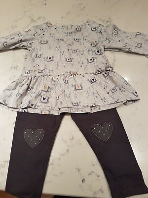 2 outfits..Girls M&S outfit and dungaree dress age 12-18 months Great condition