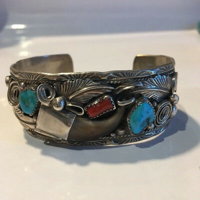 Turquoise Coral Bear Claw Bangle Native American Indian