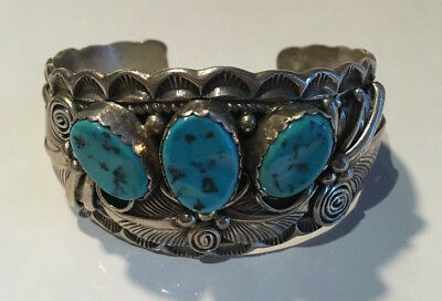 Turquoise Silver Cuff Bangle Native American Bracelet 925