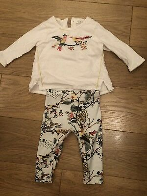 Baby Girls Next Stunning 3-6 Months Floral Bird Two Piece Outfit