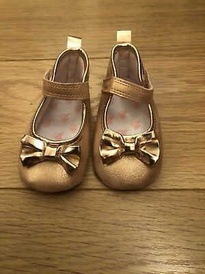 Baby Girls Gold Ted Baker 3-6 Months Party Occasion Shoes Booties Pram Shoes