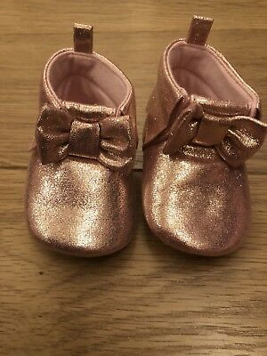 Baby Girls 3-6 Months Rose Gold Ted Baker Moccasin Pram Shoes Crib Booties Party