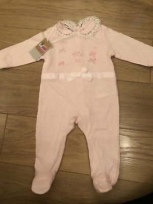 Baby Girls I DO Age 6 Months Sleepsuit Babygrow BNWT Pink Xmas Delivery