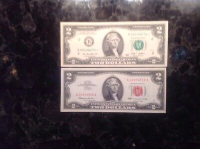 1963 $2 United States Note + 2009  $2 Federal Reserve Note -  STAR NOTE - Dallas