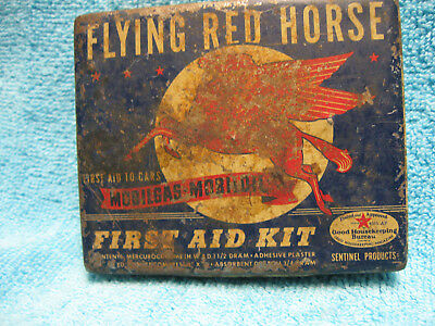Vintage Flying Red Horse Mobilgas First Aid Kit Tin