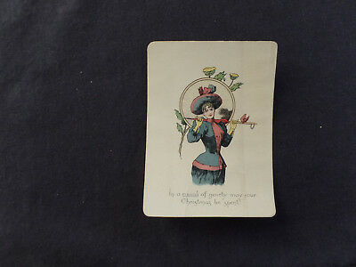 1890s Christmas card - woman with glasses -interesting & unusual victorian item