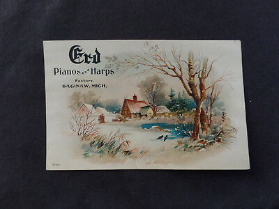 Erd pianos and harps Saginaw Michigan. Victorian trade card - winter cottage