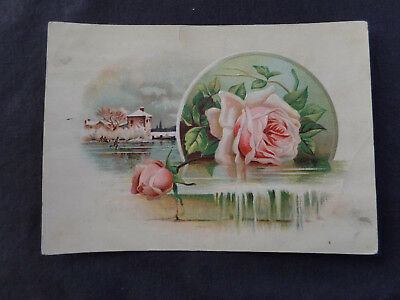 pink roses & ice skaters Victorian trade card. Lion Coffee 1890s