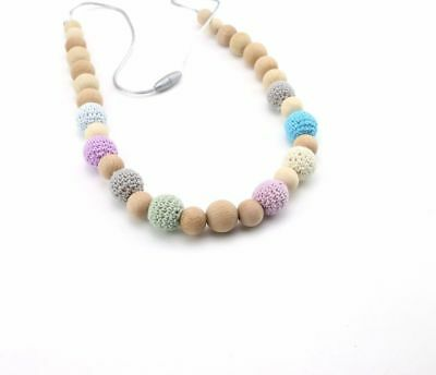 Teether Accessories Colorful Crochet Beads Food Grade Wood Beads DIY