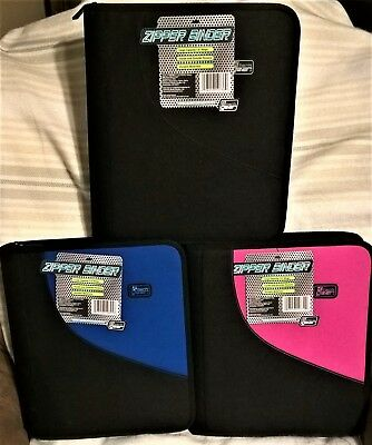 "Tech Gear Zipper Binder, 1.5"", 3 Rings, Pink, Black, and Blue Colors Available"