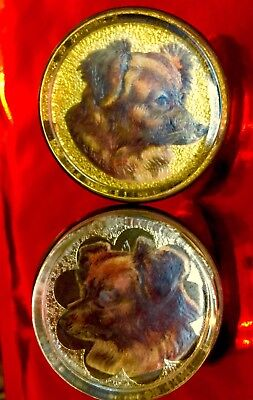 ANTIQUE SET HORSE BRIDLE ROSETTES FLAT GLASS  DOG LITHO CUT-OUTS by PFLEUGER