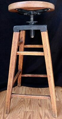Excellent Antique Architect's Industrial OAK Drafting Stool Chair