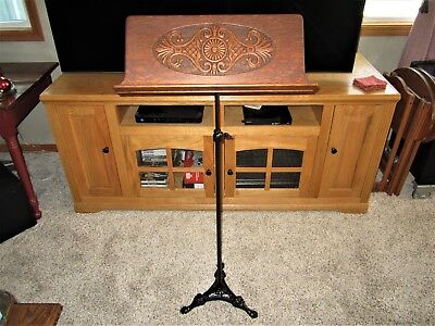 Tiger Oak Adjustable Sheet Music Stand Cast Iron Base Victorian Book Rack Holder