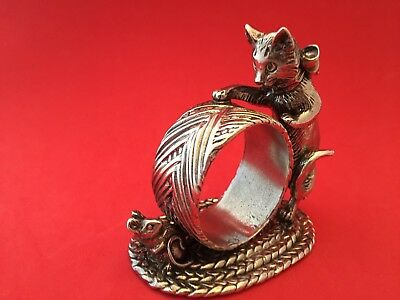 CAT Napkin Ring Holder Silverplate The 1824 Collection by Reed and Barton