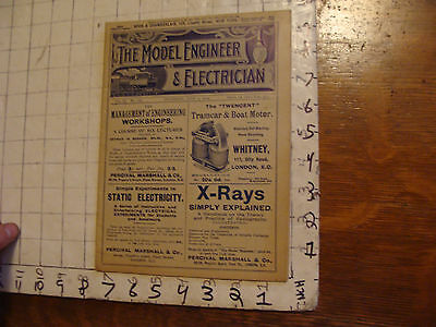 The Model Engineer and Electrician: JULY 7, 1904 issue; SCARCE MAG motorcycle ad